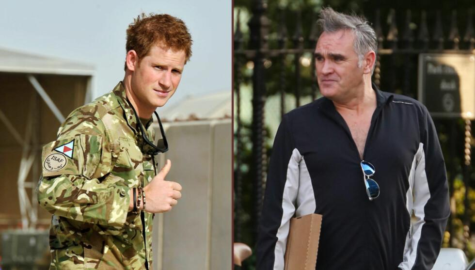 RASER: Artisten Morrissey (til høyre) raser mot prins Harry, og kaller ham en idiot. Foto: All Over Press