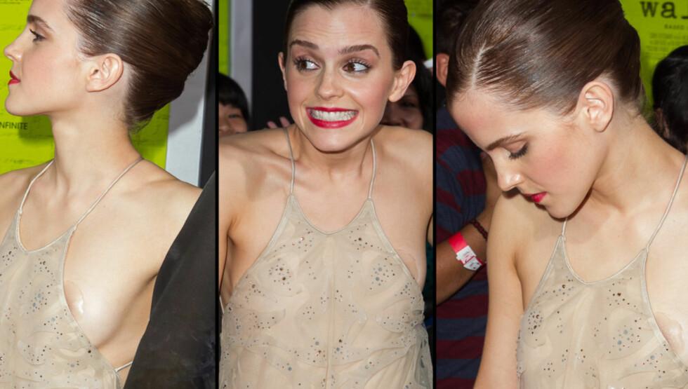 VISTE BRYSTENE: Emma Watson viste litt mer enn det som var planlagt under premieren av filmen «The Perks Of Being A Wallflower». Foto: All Over Press