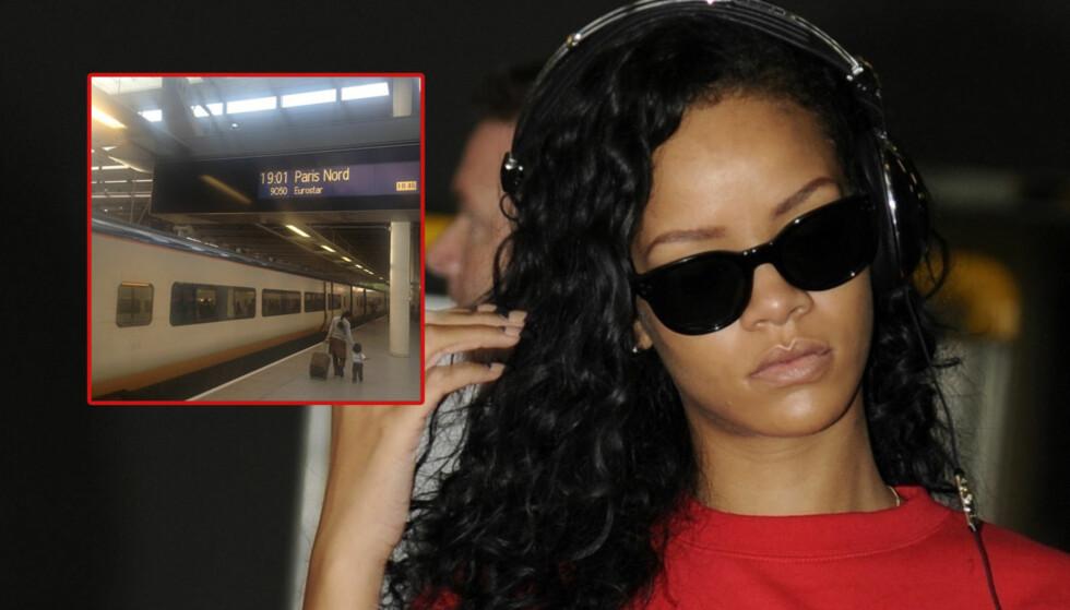 TABBE: Rihanna hadde imidlertid selv lagt ut detaljene rundt sin egen togtur, og det var ikke vanskelig for fansen å finne ut når hun ville ankomme hovedstaden. Foto: FameFlynet  / Twitter