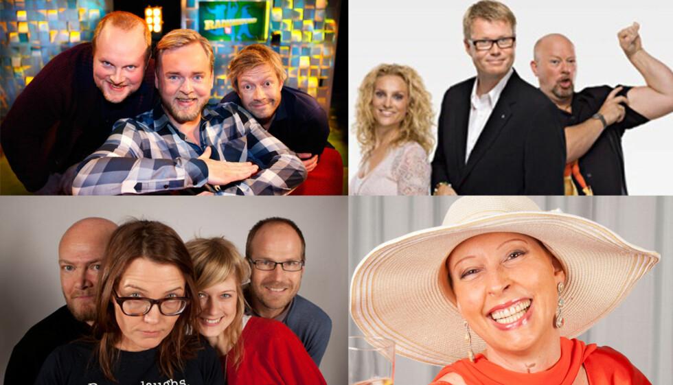 STEM: Nå kan du bestemme om «Radioresepsjonen» fra P3, «Helgeland» fra NRK P1, «Morgenklubben» fra Radio Norge eller P4s Lise Askvik skal vinne prisen for «Årets radionavn».  Foto: NRK/Radio Norge/P4/Se og Hør