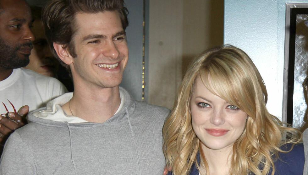 SAMMEN OVERALT: Enten de er på jobben eller hjemme så er Emma og Andrew kjærester. De to falt for hverandre under innspillingen av «The Amazing Spiderman». Foto: Fame Flynet