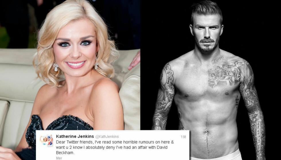 ERTES: Sangeren Katherine Jenkins ertes på Twitter etter at hun nektet for å ha sex med David Beckham. Tusensvis av Twitter-brukere har gjort det samme, og mange andre gjør narr av henne.  Foto: Stella Pictures