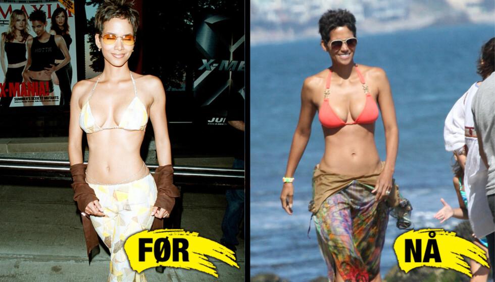 12 ÅRS FORSKJELL: Halle Berry på stranda med familien i sommer på bildet til høyre, mens hun på bildet til venstre er på den røde løperen under premieren av «X-Men» i New York, i 2000. Foto: All over press