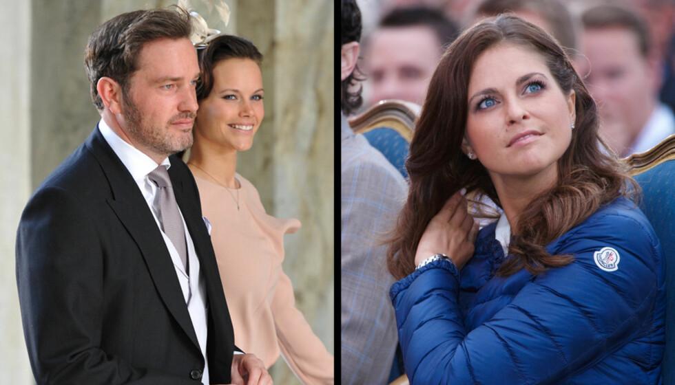 Chris O'Neill var for alvor inne i den kongelige varmen da han kom til Estelles dåp sammen med Carl Philips kjæreste Sofia Hellqvist på bildet til venstre. Men nå kommer det fram at han ble kraftig undersøkt av svensk sikkerhetspoliti på oppdrag fra Foto: Fame Flynet