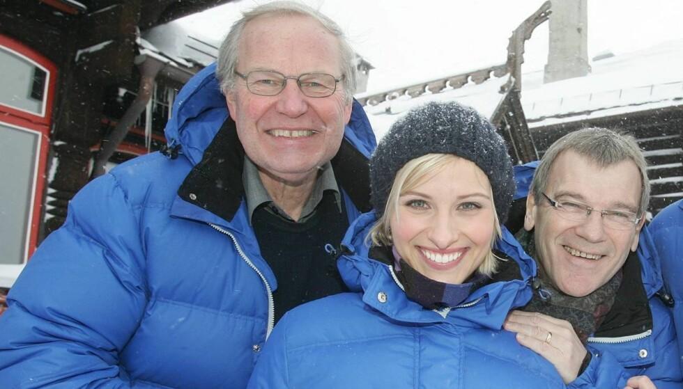 POPULÆR KOMMENTATOR: Ove Eriksen, til høyre på bildet, med Arne Scheie og Anne Rimmen har kommentert en rekke store mesterskap for NRK. Nå er han på plass i London, der han blant annet kommenterer svømming og bryting. Foto: Stella Pictures