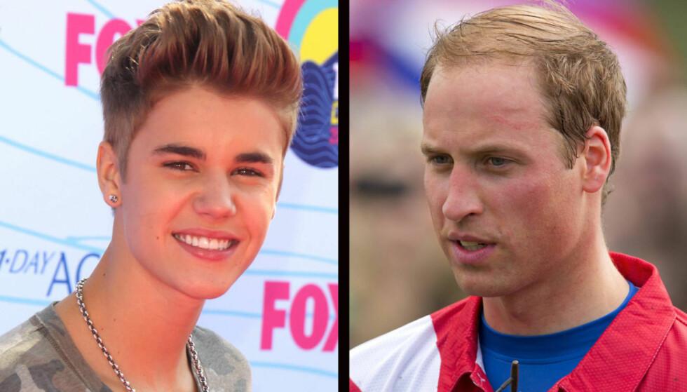 HÅRETE SPØK: Justin Bieber kunne ikke dy seg for å kommentere prins Williams minkende hårmanke i et intervju med det britiske bladet Rollercoaster. Det har ført til reaksjoner i Storbritannia. Foto: All over