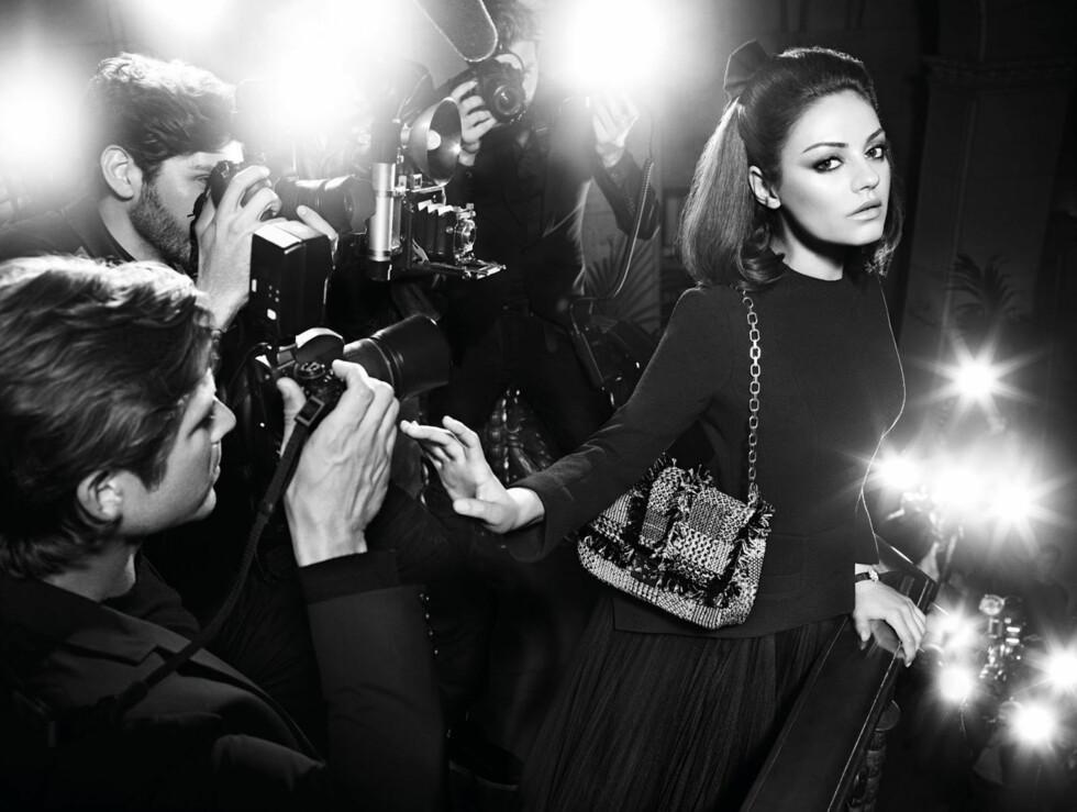 VAKKER: Skuespiller Mila Kunis har spilt både komiske og dramatiske roller på film, noe som skinner igjennom på de dynamiske bildene for Christian Dior.  Foto: Stella Pictures