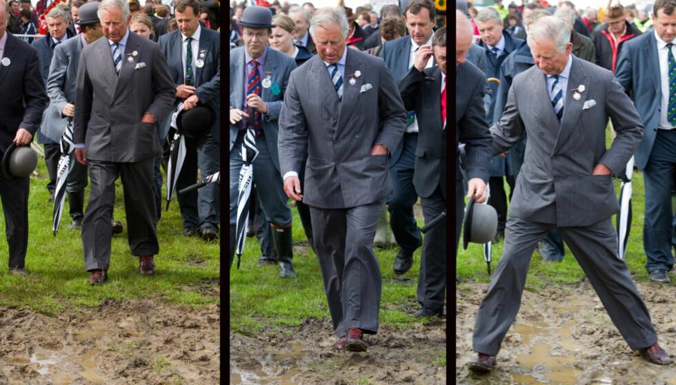 OOPS: Prins Charles så ikke ut til å være forberedt på gjørmen, da han dukket opp på gårdsbesøk i Cornwall. Foto: Fame Flynet Norway