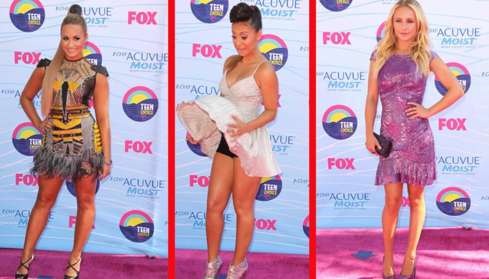 KORT OG GODT: Hollywoods unge stjerner valgte sexy, korte kjoler på Teen Choice Awards søndag kveld. Fra venstre Demi Lovato, Francia Raisa og Hayden Panettiere.  Foto: All Over Press