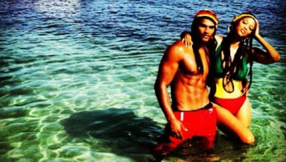SEXY SOMMERFERIE: Tyra Banks er på ferie i Jamaica sammen med kjæresten Robert Evans, og delte dette bildet med fansen på Twitter.  Foto: Twitter