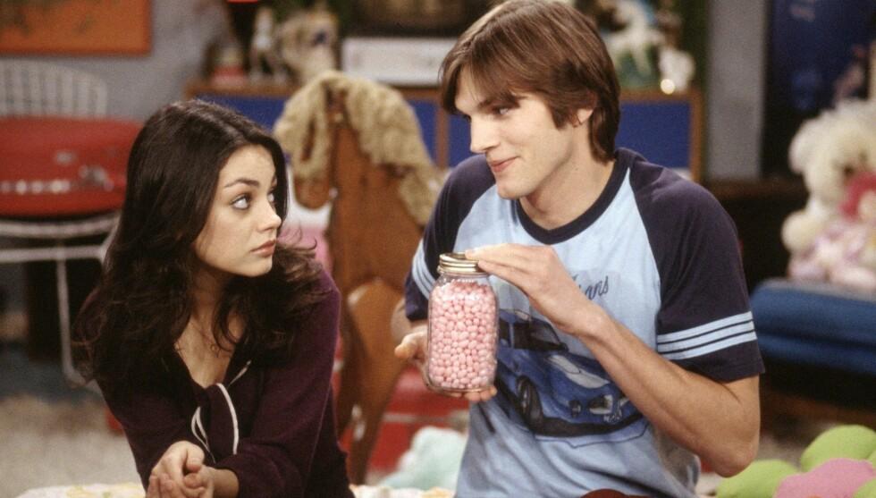 TIDLIGERE KOLLEGER: Ashton og Mila spilte sammen i komiserien «That 70's Show». Foto: FameFlynet