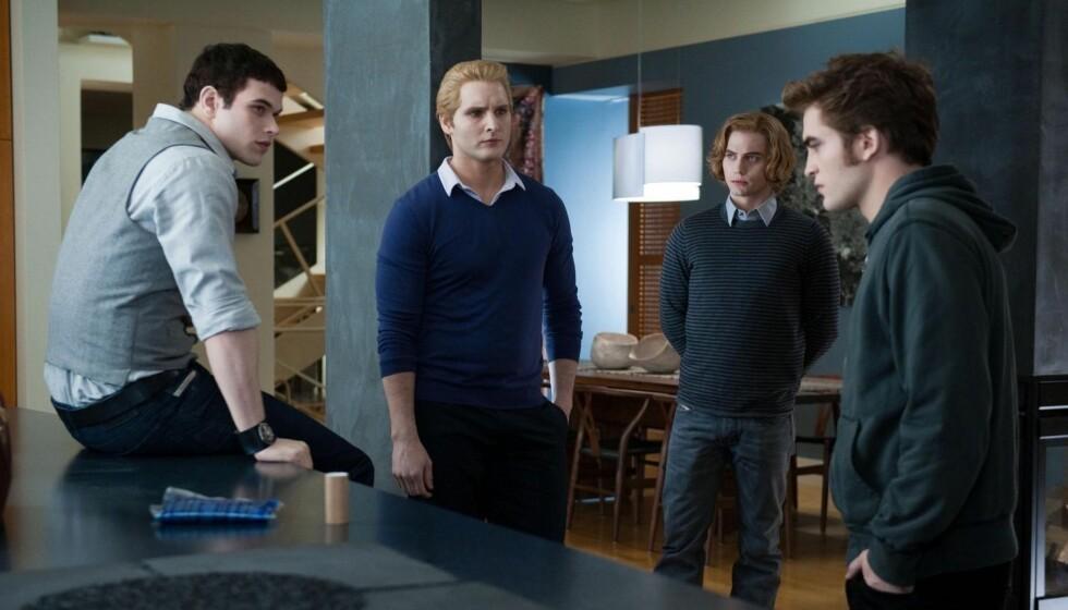STJERNE: «Twilight»-filmene har gjort Jackson Rathbone (t.h.) til stjerne her er han i en scene sammen med kollegene Peter Facinelli, Robert Pattinson, og Kellan Lutz. Foto: Stella Pictures