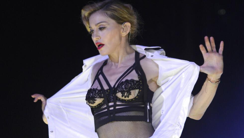 ULYKKE: Madonnas planlagte konsert i Gøteborg i morge kveld kan bli forsinket etter at en lastebil med hennes lydanlegg veltet utenfor den svenske byen tirsdag. Foto: All Over Press