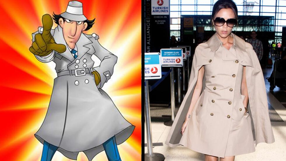 ORIGINALEN OG KOPIEN: Mon tro om Victoria Beckham var inspirert av tegneseriefiguren Inspector Gadget da hun valgte antrekk til flyturen fra Los Angeles til London søndag?  Foto: All Over