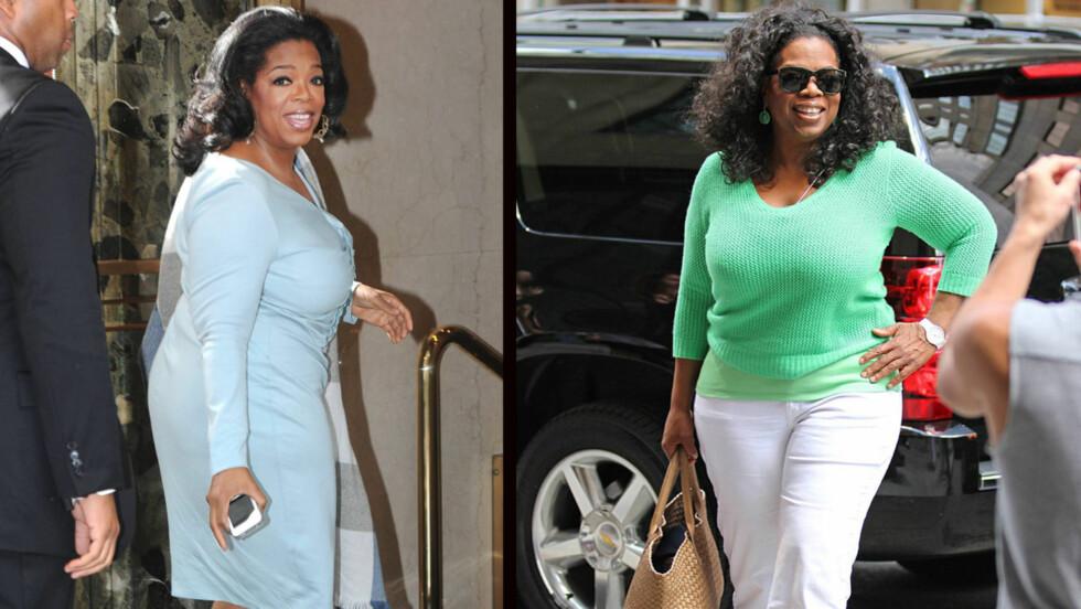 SLANKER SEG: Oprah Winfrey har gått ned 11 kilo i løpet av seks uker. Bildet til venstre er tatt i april, mens programlederen ser langt slankere ut til høyre på bildet fra juni.  Foto: All Over Press