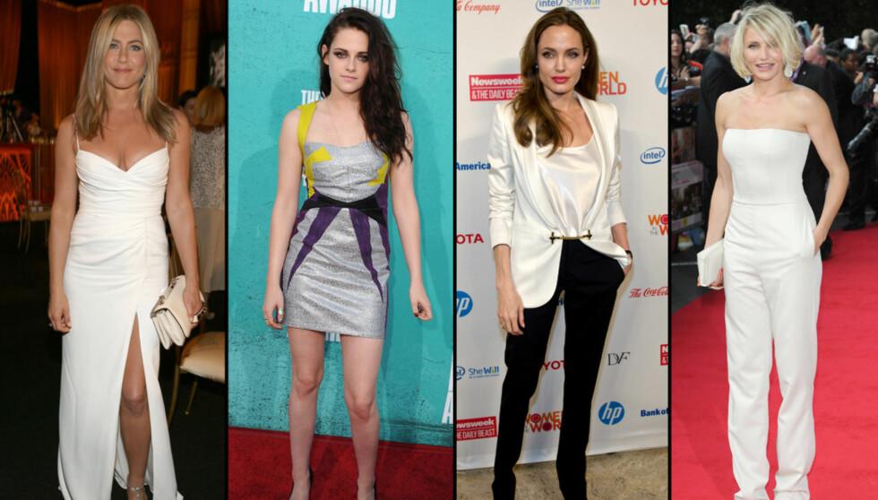 TJENTE FETT: Jennifer Aniston, Kristen Stewart, Angelina Jolie og Cameron Diaz er alle på topp ti-listen over skuespillerinnene som tjente best i de siste tolv månedene. Men det er Twilight-stjernen Stewart som klatrer helt til topps. Foto: All Over Press