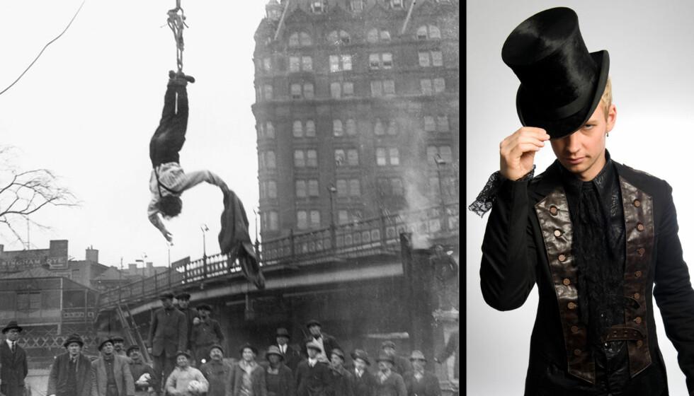 100 ÅR SIDEN: Harry Houdini forbløffet en hel verden med sine triks for 100 år siden. Nå skal Alexx Alexxander prøve å kopiere mesteren, men han gjør det enda vanskeligere. Foto: NTB SCANPIX