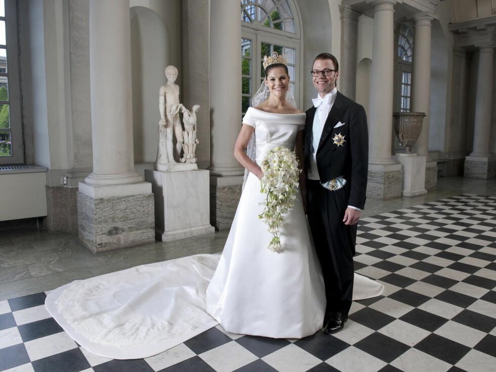 <strong>BRYLLUPSBILDE:</strong> Her er det offisielle bryllupsbildet av kronprinsesseparet. Foto: Stella Pictures