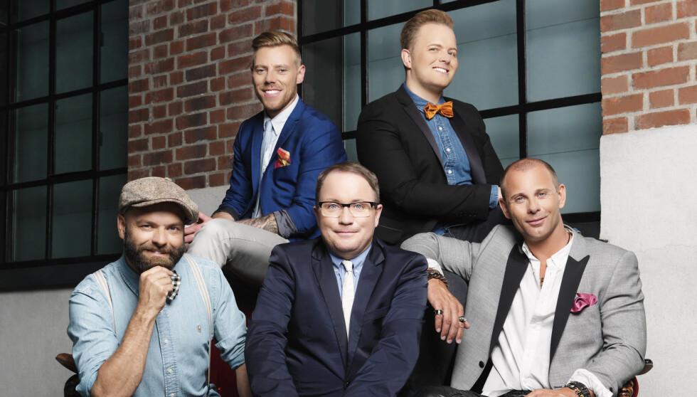 HOMSEPATRULJEN: John André Hanøy, Per Sundnes, Tore Vik, Espen Hilton og Alex Cornelius skal forbedre menn i TV3s nysatsing.  Foto: Dag Knudsen/TV3
