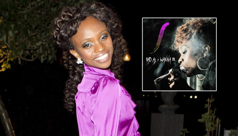 SKAPER REAKSJONER: At Stella Mwangi viser seg med en cannabis-lignende røyk på singelcoveret får flere til å reagere. Foto: FameFlynet