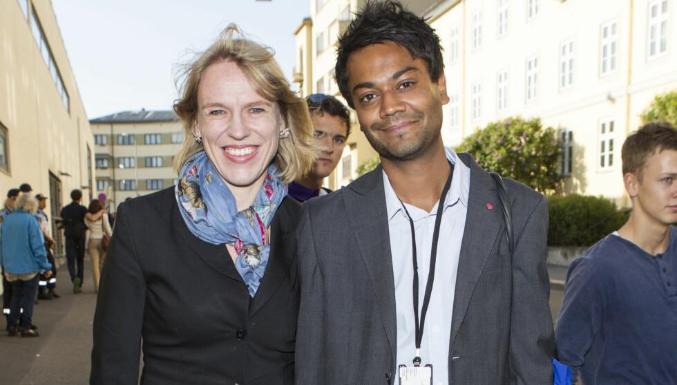 FØRSTE ARBEIDSDAG: På sin første arbeidsdag fikk Shakeel Rehman være kulturminister Anniken Huitfeldt på Bislett Games. Foto: Andreas Fadum