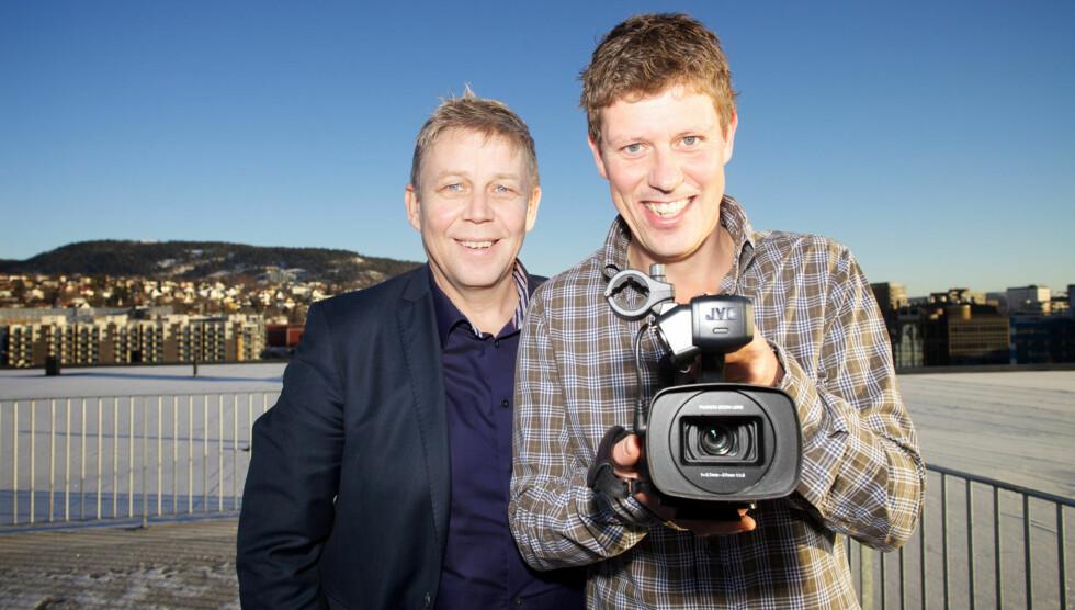 SKIFTET KANAL: Jan Fredrik Karlsen er klar med nytt skjult kamera-konsept paÌ� TVNorge. Her er han med programdirektør Eivind Landsverk. Foto: TVNorge