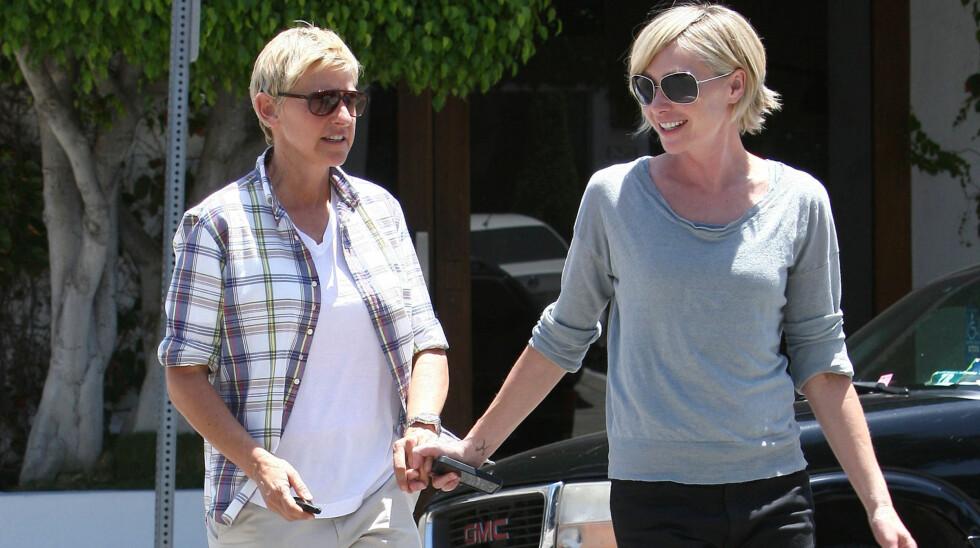 <strong>LYKKELIGE:</strong> Ellen DeGeneres og Portia de Rossi giftet seg for fire år siden og er fortsatt like forelsket.  Foto: FameFlynet Norway