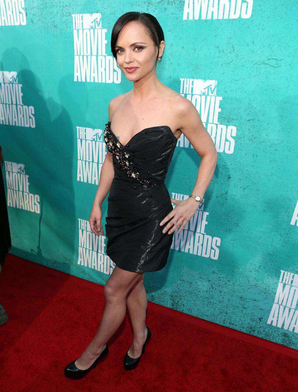 LILLE SORTE: Christina Ricci valgte den lille sorte på MTV Movie Awards. Foto: All Over Press