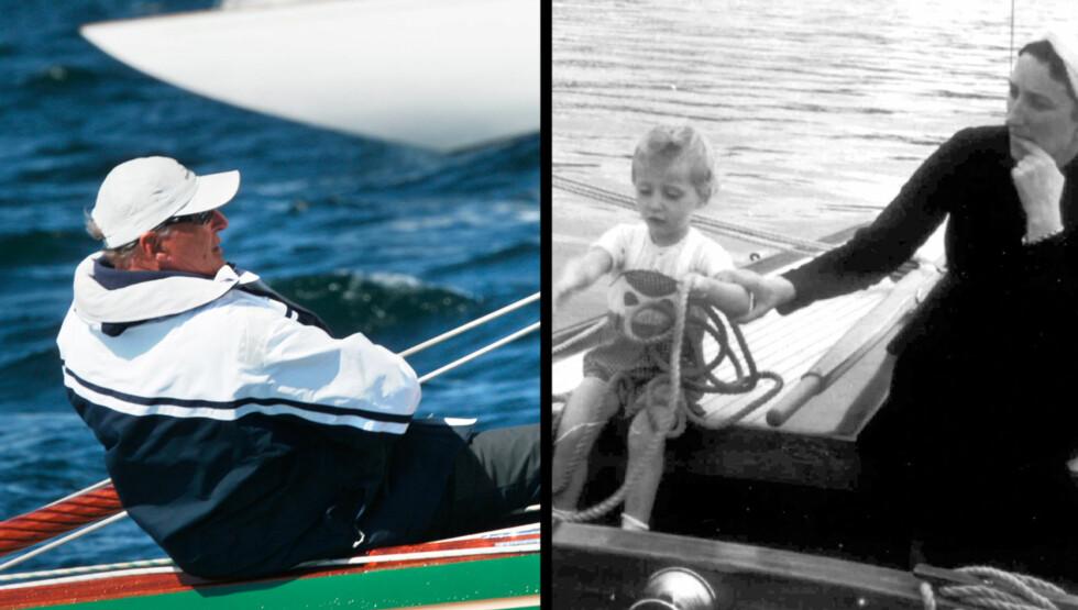 STARTEN: På bildet til høyre er prins Harald på sin første seiltur i kronprins Olavs åttemeter «Sira». Ved sin sønns side, en litt engstelig kronprinsesse Märtha. Bildet er tatt sommeren 1939, og fotografen er høyst sannsynlig en stolt far,davæ Foto: NTB SCANPIX