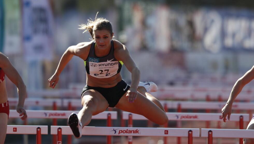 LETTKLEDD: Til tross for at Vukicevic stiller temmelig lettkledd på friidrettsbanen som hekkeløper, ønsker hun ikke å vise seg fram for det norske folk gjennom å stille til fotoshoot i manneblader. Foto: NTB Scanpix