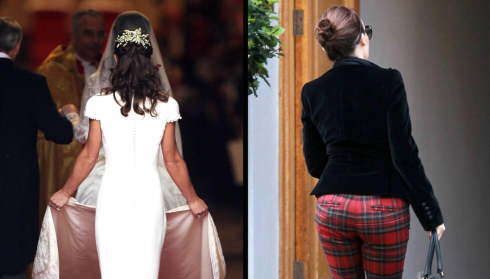 TØFF KAMP PÅ RØD LØPER: Pippa Middleton utfordres av Kylie Minogue til en rumpeduell når de mandag møtes for å feire dronning Elisabeths 60 år på tronen i Storbritannia.