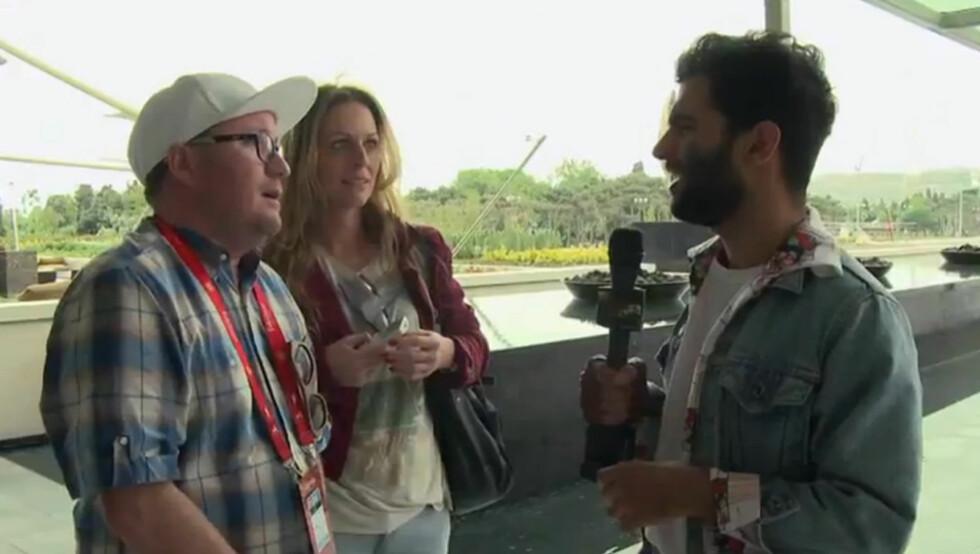 <strong>IRANSK STUNTREPORTER:</strong> Bijan er en iransk stuntreporter som i regi av NRK lager morsomme videoer fra Baku.  Foto: YouTube