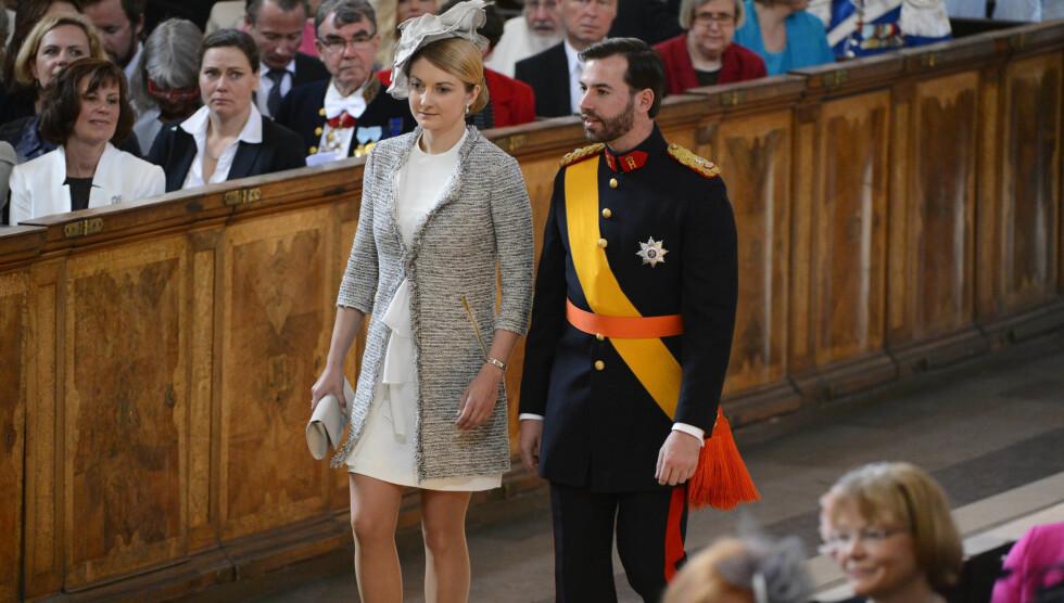 <strong>NYFORLOVET:</strong> Kronprins Guillaume fra Luxembourg tok med seg forloveden Stephanie de Lannoy for første gang i offisiell sammenheng til dåpen i Sverige.  Foto: NTB SCANPIX