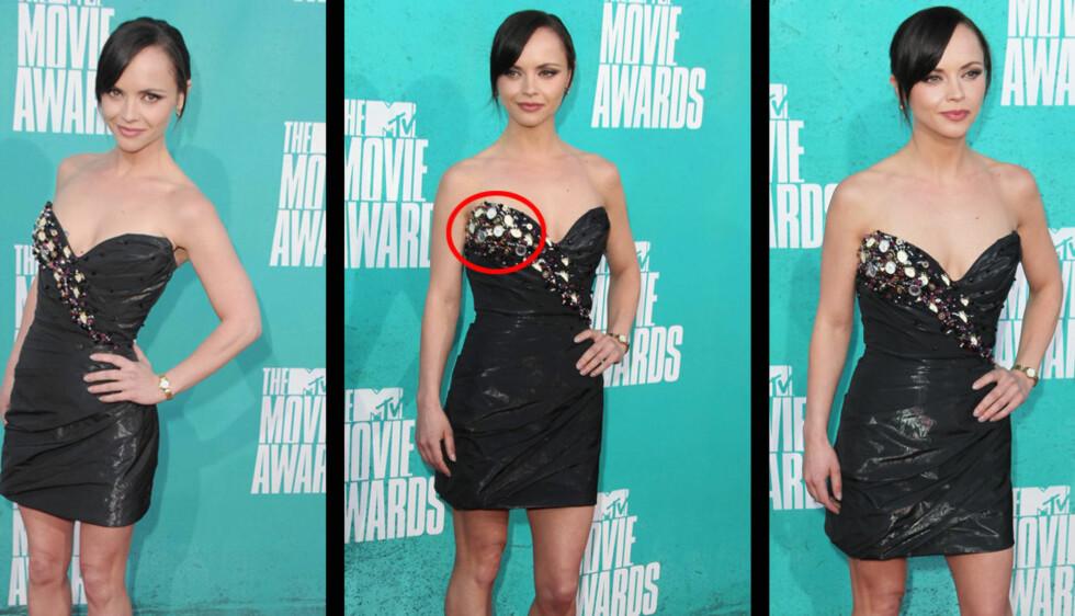DA KLOKKA KLANG..: Christina Ricci hadde hele 25 urskiver på sin designerkjole, da hun mandag dukket opp på prisutdelingen MTV Movie Awards.  Foto: All Over