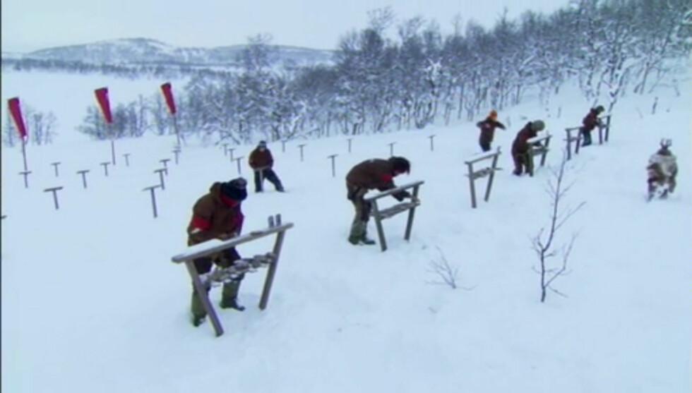 ISKALD OPPLEVELSE: Marthe klarte ikke å hevde seg, da deltagerne søndag måtte leke «huskeleken» i temperaturer ned mot 30 kuldegrader. Foto: TV3