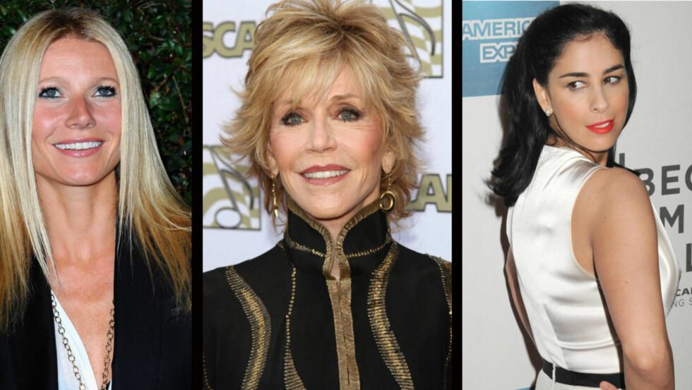 <strong>INTIME BETROELSER:</strong> Gwyneth Paltrow, Jane Fonda og Sarah Silverman avslører hva de liker under laknene.  Foto: All Over Press