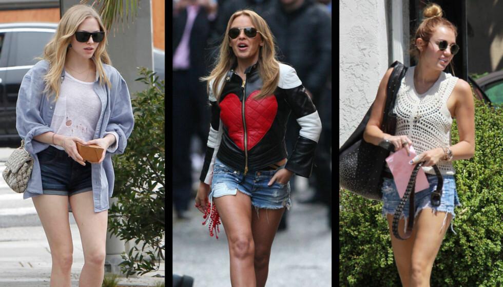 MINIMAL MOTE: Superstjerner som Amanda Seyfried, Kylie Minogue og Miley Cyrus sverger alle til korte olashorts, når de skal kle seg for sommervarmen i år.  Foto: All Over/Stella