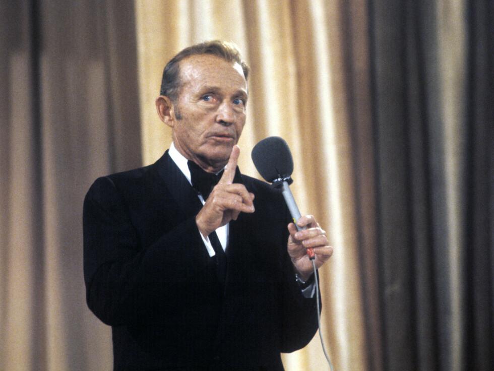 I MYSEN: Den amerikanske verdensartisten Bing Crosby på Momarkedet, 27. august 1977, kort tid før han døde. Nå er det slutt på den historiske Mysen-festivalen. Foto: NTB scanpix