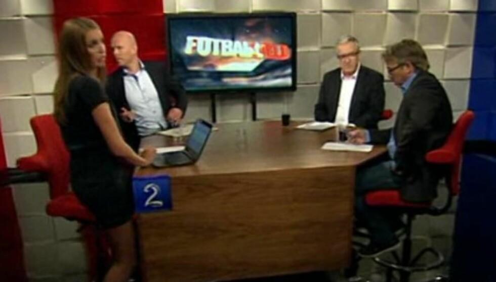 <strong>DIREKTETABBE:</strong> Susanne Wergeland ble tatt på senga da programmet «Fotballkveld» startet opp igjen uten at hun var klar over det etter en reklamepause søndag. Foto: TV 2