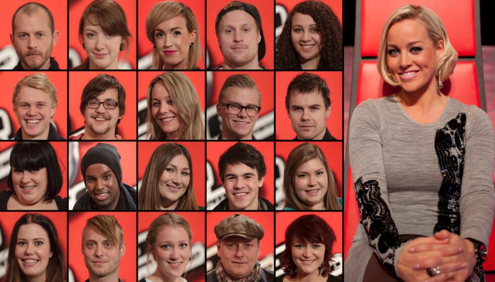 20 DELTAGERE: Her er de 20 finalistene i «The Voice» sammen med mentor Hanne Sørvaag. Nederst i saken kan du klikke deg inn på alle deltagerne. Foto: TV 2