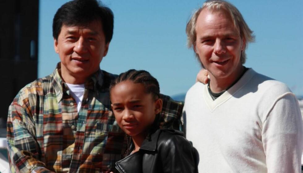 GJORDE SUKSESS: Harald Zwart har blitt et kjent navn i Hollywood etter suksess med blant annet filmen «Karate Kid». Her er han sammen med hovedrolleinnehaverne Jackie Chan og Jaden Smith. Foto: Adéle C. Blystad/Seher.no