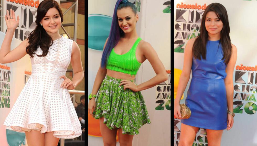 POPULÆRE JENTER: Ariel Winther, Katy Perry og Miranda Cosgrove strålte alle da de ankom Kids' Choice Awards.