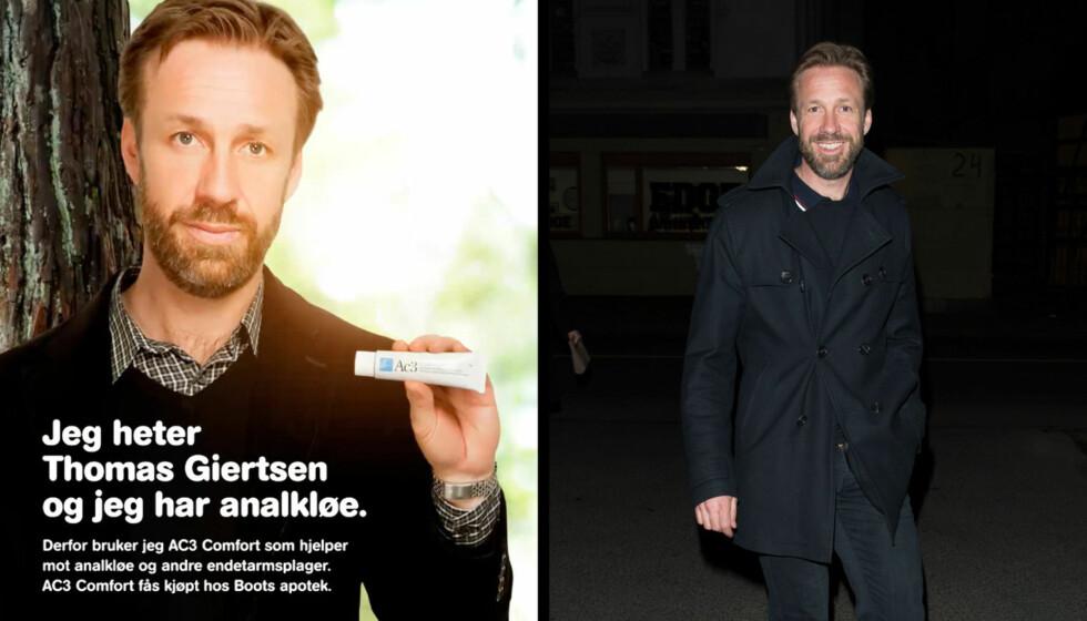 ANALKLØE-KAMPANJE: Denne reklameplakaten av Thomas Giertsen er denne uka å se over hele T-banenettet i Oslo etter at han tapte veddemålet mot Morten Ramm.
