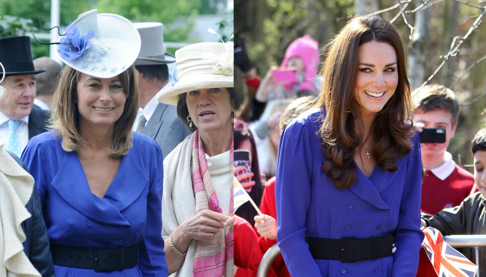 <strong>TOK KJOLEN - DROPPET HATTEN:</strong> Hertuginne Kate har lånt kjolen fra Reiss av moren Carole Middleton. Men hatten moren brukte på Ascot i 2010 lot hun ligge hjemme.  Foto: Stella Pictures
