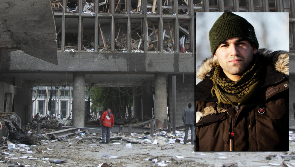 DRAMATIKK: Robinson-deltageren Lucas Scott Andersen var en av de første på stedet, da regjeringskvartalet i Oslo ble utsatt for et bombeangrep 22. juli. Han hjalp flere sårete fram til politi og ambulansepersonell kom til stedet. Foto: SCANPIX