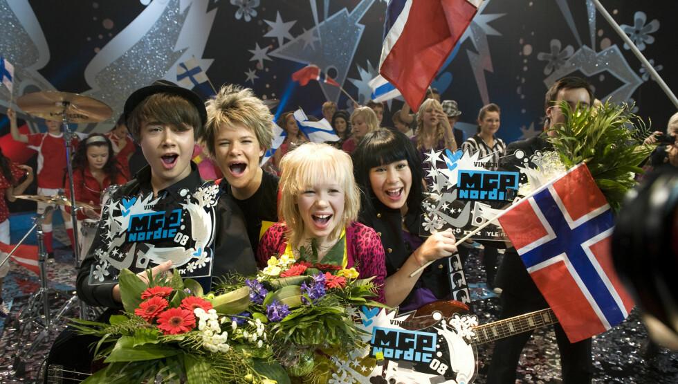 VANT MGP JR.: Viktoria Eriksen (nummer to fra venstre) var med og vant MGP Jr. med sangen Oro jaska beana i 2008. Senere har The BlackSheeps deltatt i MGP for voksne, uten henne. Foto: SCANPIX