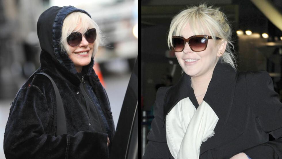 SAMME PERSON? Fotografene utenfor Mercer Hotel trodde Debbie Harry var Lindsay Lohan da hun forlot stedet søndag. Foto: All Over Press