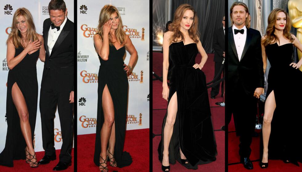 HERMER ETTER RIVALEN: Angelina Jolie kopierte Jennifer Anistons kjole fra Golden Glome i 2010 da hun ankom Oscar-utdelingen natt til mandag.  Foto: Stella Pictures/All over