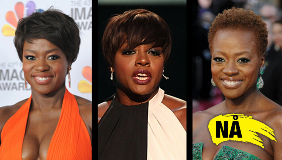 STADIG FORANDRING: Alle disse tre bildene av «The Help»-skuespiller Viola Davis er tatt den siste måneden. På bildet til høyre er hun fra Oscar-utdelingen.  Foto: All over press