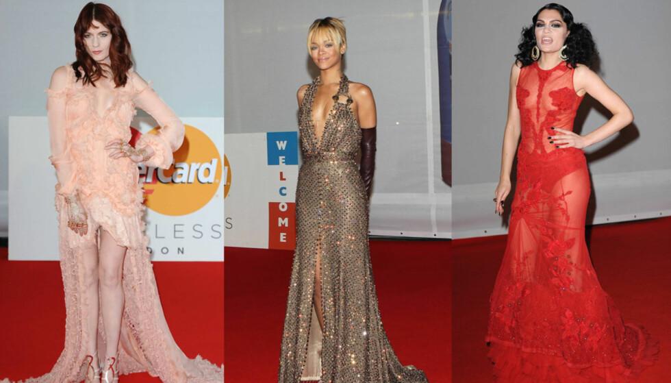 <strong>DRISTIG:</strong> Mange stjerner, som Florence Welch, Rihanna og Jessie J valgte lange kjoler med høy splitt og dristig utringning under tirsdagens Brit Awards.  Foto: All Over Press